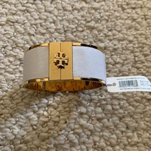 Tory Burch wide leather inlay cuff bracelet NWT